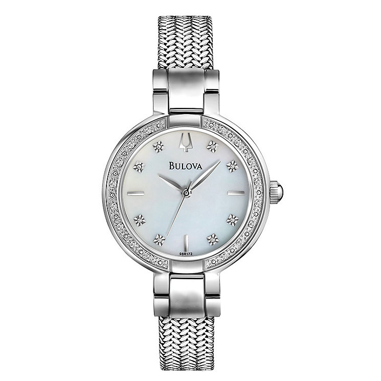 Bulova Ladies' Diamond Dial Mesh Bracelet Watch - Product number 1370685