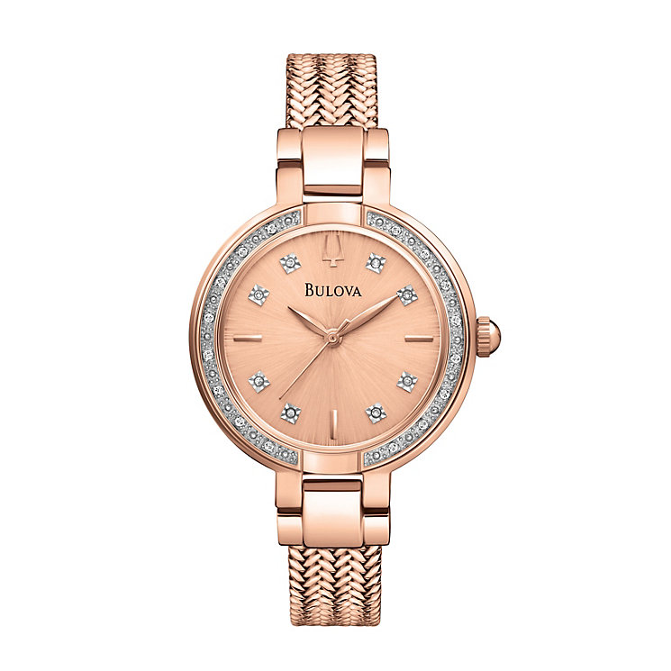 Bulova Ladies' Diamond Dial Rose Gold Plated Bracelet Watch - Product number 1370693