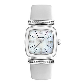 Bulova Ladies' Stone Set White Leather Strap Watch - Product number 1370707