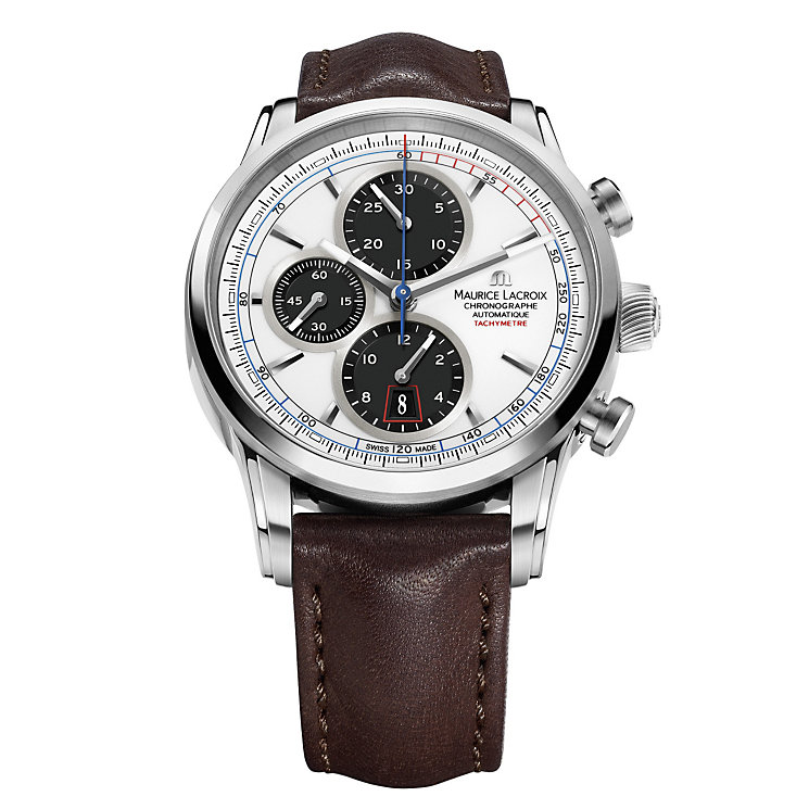 Maurice Lacroix Pontos men's brown leather strap watch - Product number 1370731