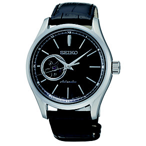 Seiko men's automatic black leather strap watch - Product number 1370758