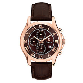 Bulova Men's Roman Dial Brown Leather Strap Watch - Product number 1370839