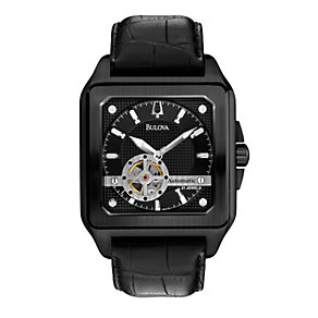 Bulova Men's Black Ion-Plated Leather Strap Watch - Product number 1370871