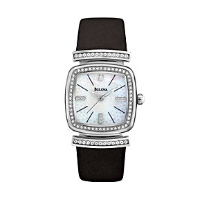 Bulova Ladies' Stone Set Black Leather Strap Watch - Product number 1370944
