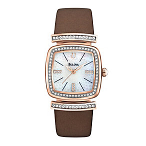 Bulova Ladies' Rose Gold-Plated Brown Leather Strap Watch - Product number 1370952