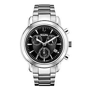 Bulova Men's Black Dial Stainless Steel Bracelet Watch - Product number 1370979