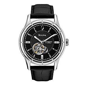 Bulova Men's Stainless Steel Black Leather Strap Watch - Product number 1370987