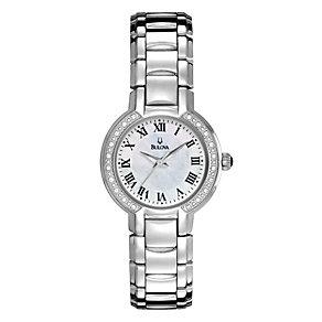 Bulova Ladies' Silver Dial Stone Set Bracelet Watch - Product number 1371045