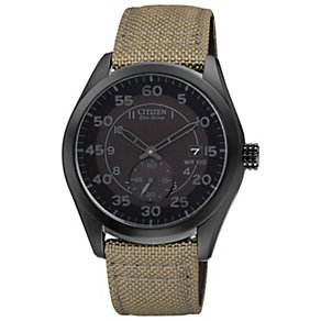 Citizen Eco-Drive Men's Black Dial Canvas Strap Watch - Product number 1371290