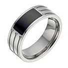 Titanium diamond & onyx ring - Product number 1372610