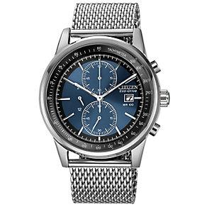 Citizen Eco-Drive Men's Blue Dial Mesh Bracelet Watch - Product number 1373595
