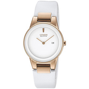 Citizen Eco-Drive Ladies' White Leather Strap Watch - Product number 1373919