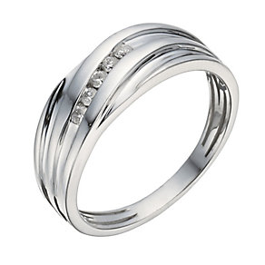 9ct white gold 5 stone diamond wave ring - Product number 1374583
