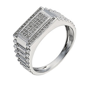 9ct white gold diamond pave flat top ring - Product number 1374710