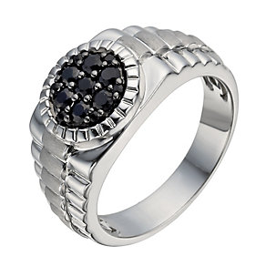 Silver black sapphire ring - Product number 1374982