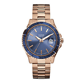 Guess Men's Blue Dial Rose Gold-Plated Bracelet Watch - Product number 1377736
