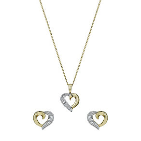 """9ct Gold Cubic Zirconia 18"""" Heart Pendant & Earrings Set - Product number 1378368"""