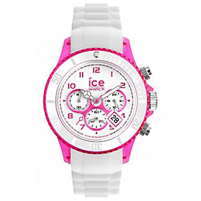 Ice-Watch Ladies' Pink & White Silicone Bracelet Watch - Product number 1378422