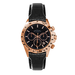 Rotary Men's Rose Gold-Plated Chronograph Strap Watch - Product number 1379534
