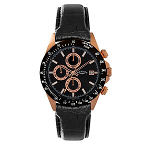 Rotary Men's Black Dial Black Leather Strap Watch - Product number 1379542