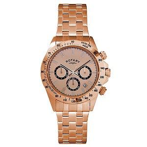 rotary men s chronograph rose gold plated bracelet watch h samuel