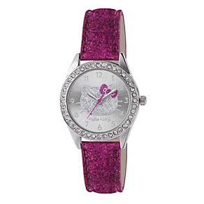 Children's Hello Kitty Silver Dial Pink Glitter Strap Watch - Product number 1380540