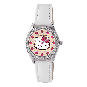 Children's Hello Kitty Stripe Dial White Strap Watch - Product number 1380575