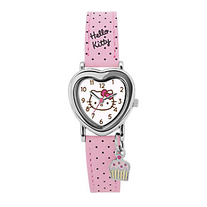 Children's Hello Kitty Heart Pink Polka Dot Strap Watch - Product number 1380591