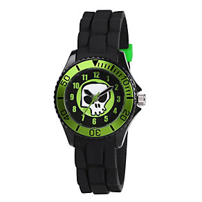 Tikkers Children's Skull Black Rubber Strap Watch - Product number 1380699
