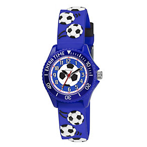Tikkers Children's Football Blue Rubber Strap Watch - Product number 1380710