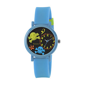 Tikkers Children's Skull Blue Rubber Strap Watch - Product number 1380737