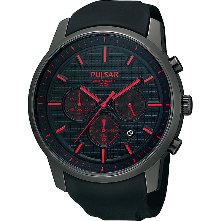 Pulsar Men's Black PU Strap Watch - Product number 1382071
