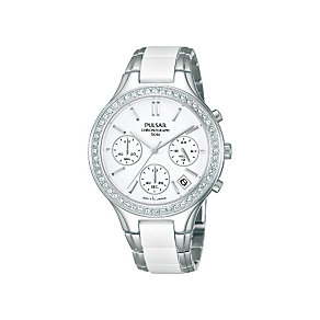 Pulsar Ladies' Stainless Steel White Ceramic Bracelet Watch - Product number 1382195