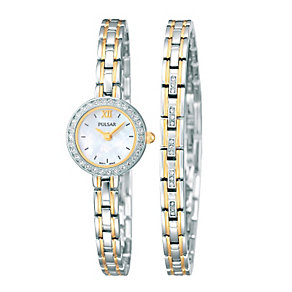 Pulsar Ladies' Two Tone Watch And Bracelet Set - Product number 1382225