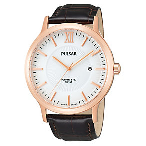 Pulsar Men's Kinetic Brown Strap Watch - Product number 1382306