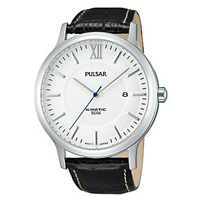 Pulsar Men's Stainless Steel Black Leather Strap Watch - Product number 1382438