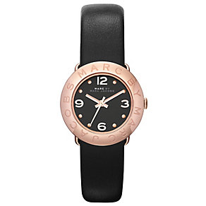 Marc Jacobs Amy ladies' rose gold-plated black strap watch - Product number 1382926