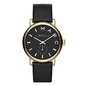 Marc Jacobs Baker ladies' gold-plated black strap watch - Product number 1383000