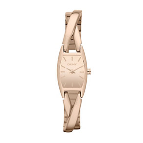 DKNY ladies' rose gold-plated twist half bangle watch - Product number 1383361