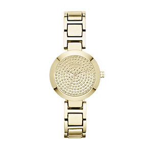 DKNY Sasha ladies' stone set gold-plated bracelet watch - Product number 1383434