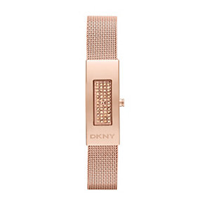 DKNY ladies' stone set rose gold-plated bracelet watch - Product number 1383809