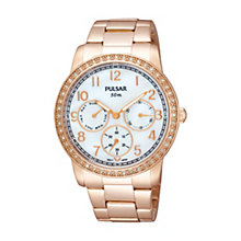 Pulsar Ladies' Stone Set Rose Gold-Plated Bracelet Watch - Product number 1384236