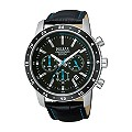 Pulsar Men's Stainless Steel Black Leather Strap Watch - Product number 1384252