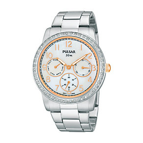 Pulsar Ladies' Stone Set Two Tone Bracelet Watch - Product number 1384287