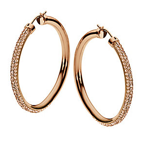 DKNY Rose Gold Tone Stone Set Hoop Earrings - Product number 1384317