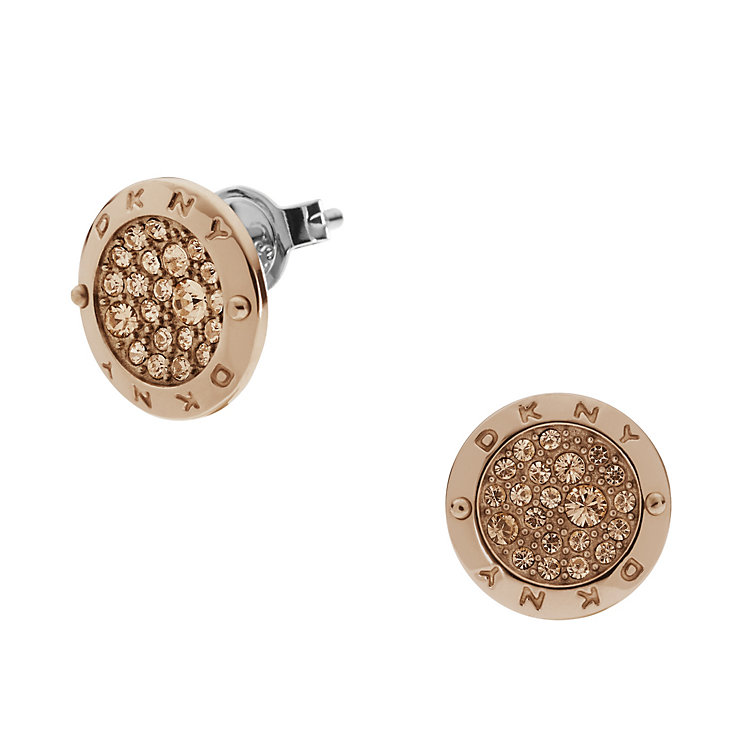 DKNY Rose Gold Tone Stone Set Stud Earrings - Product number 1384414