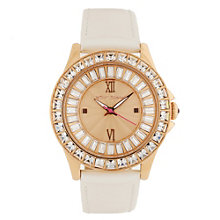 Betsey Johnson Ladies' Rose Gold Tone Leather Strap Watch - Product number 1386611