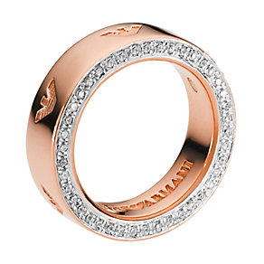 Emporio Armani stainless steel & rose gold-plated ring - Product number 1388037