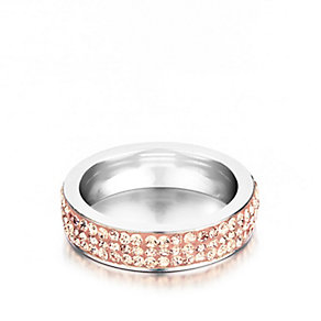 Shimla Rose Gold Tone Crystal Set Ring Size N - Product number 1388045