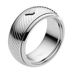 Emporio Armani men's eagle logo ring - size U - Product number 1388096